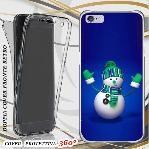 CUSTODIA COVER CASE SNOWMAN PER IPHONE 6 FRONT BACK