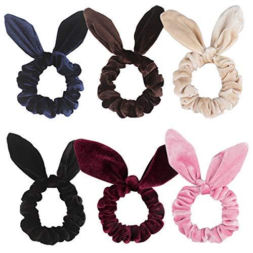 Ahoney 6 Pack Hair Scrunchies Velvet Scrunchy Hair Bobbles Elastic Hair Bands Rabbit Ear Style, 6 Colors
