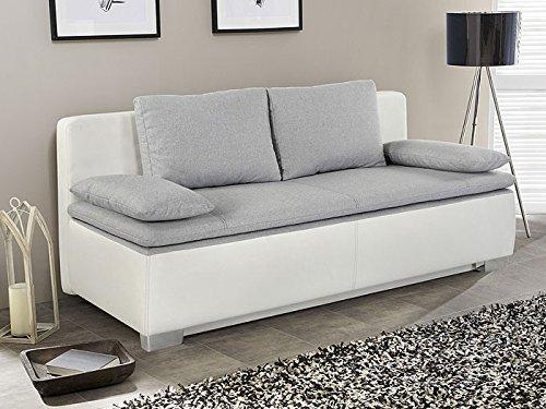 Schlafsofa, Couch Duana 203x90cm, hellgrau weiss ...