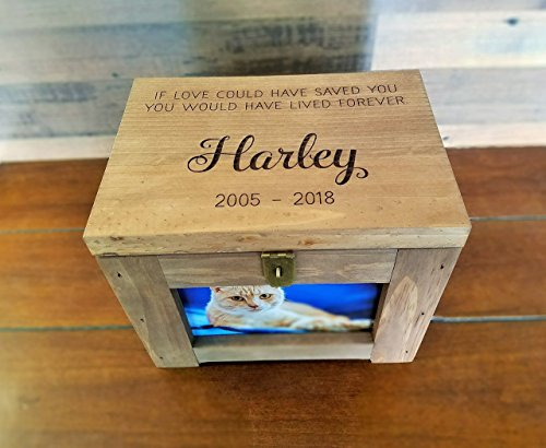 Personalized Pet Memory Box with Name and Quote or Poem - Memorial Photo Frame Chest Picture Keepsake - Dog, Cat, Lizard, - Memorial Chest