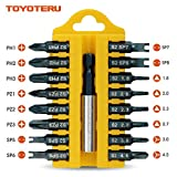 TOYOTERU 17 Piece S2 Screw Driving Bit Set for all driving (D) | Phillips , Pozidrive , Y-type , U-type , Triangle Bits