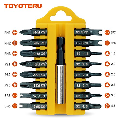 Cheap TOYOTERU 17 Piece S2 Screw Driving Bit Set for all driving (D) | Phillips, Pozidrive, Y-type, U-type, Triangle Bits