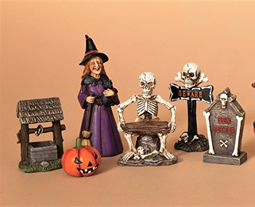 Halloween 6 Piece Figurine Display Set Witch Skeleton Pumpkin Tombstone - Displays Halloween Pumpkin