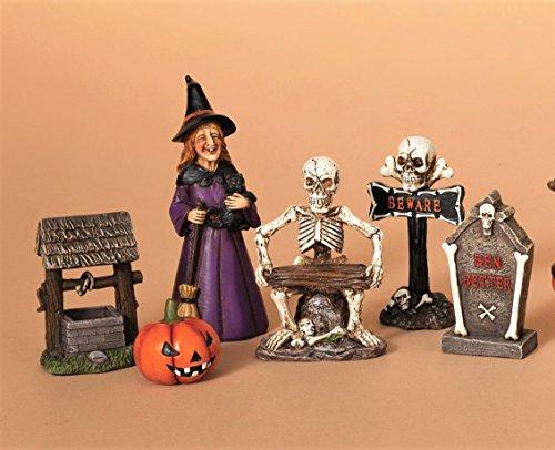 Halloween 6 Piece Figurine Display Set Witch Skeleton Pumpkin Tombstone - Halloween Displays Pumpkin