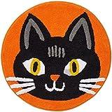 halloween black cat plush round bath rug - Halloween Rugs