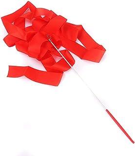 Aofocy Bande Twirling de Ruban de Danse de Ruban de Gymnastique pour l'art Rythmique Fournitures de Sport de Gymnastique 4m Rouge