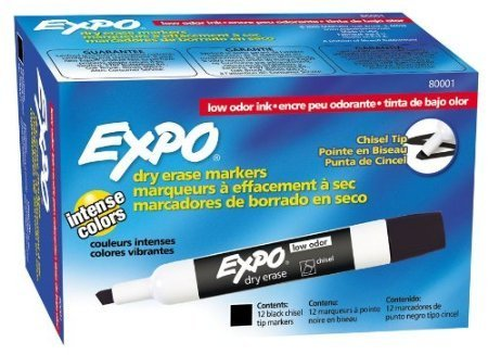Expo Low Odor Chisel Tip Dry Erase Markers, Black,
