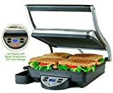 Cheap Ovente 4-Slice Digital Electric Panini Press Grill and Gourmet Sandwich Maker with Temperature Control, Auto Shut-Off Timer, Nickel Brushed (GP1000BR)