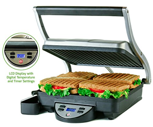 Ovente 4-Slice Digital Electric Panini Press Grill and Gourmet Sandwich Maker with Temperature Control, Auto Shut-Off Timer, Nickel Brushed (GP1000BR)