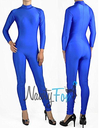 NawtyFox Shiny Spandex Blue Mock Neck Long Sleeve Unitard Bodysuit Costume Dancewear]()