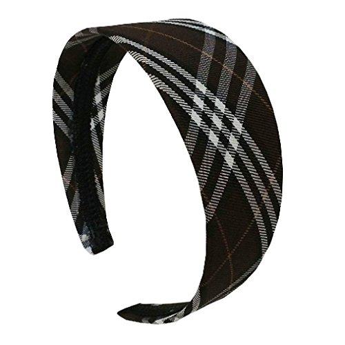 New Girls Fashion Chic Plaid Wide Headband Hair Accessory (Plaid Wide Headband)