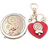 LIWUYOU Personalized Custom Cute Bear Lollipop Portable Double-sided Princess Small Mirror Keychain Pendant Key Ring with Red Heart Set, Light Gold