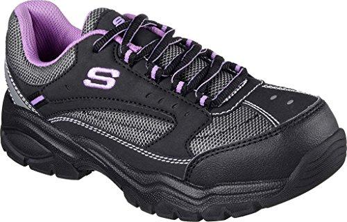 Work Slip Skechers Shoe Nubuck Trim Resistant Work Women's Bisco Purple Black for Action qxqHTIwY