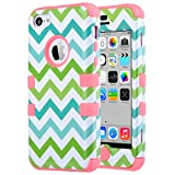 iPhone 5C Case, ULAK 3in1 Anti Slip IPhone 5C Case Hybrid with Soft Flexible Inner Silicone Skin Protective Case Cover for Apple iPhone 5C Green Wave + Coral Pink
