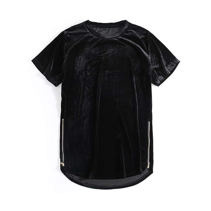 e1f7c61deb4 HANGJIA Black Velour Velvet Round Neck Short Sleeve Top Tees Zipper Sides  Long Hem T-