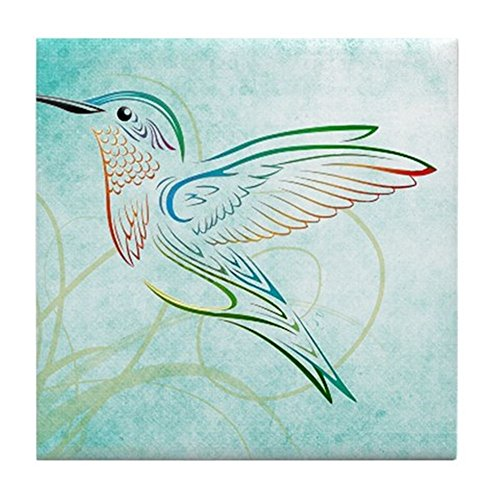 CafePress – Aqua Hummingbird Watercolor – Tile Coaster, Drink Coaster, Small Trivet