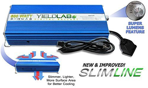 Yield Lab Horticulture 600w Slim Line Dimmable Digital Balla