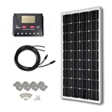 HQST 100 Watt 12 Volt Monocrystalline Solar Panel Kit with 30A PWM LCD Display Charge Controller