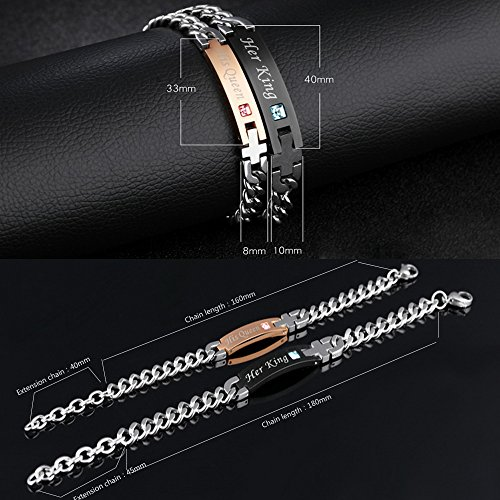 2pcs His Queen Her King Stainless Steel His and Hers Couple Bracelet Valentine's Gift for Lovers by JC Fashion Jewelry (Image #1)