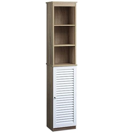 DEUBA® Armario alto para baño | Con 6 estantes | Diseño elegante | Puertas con