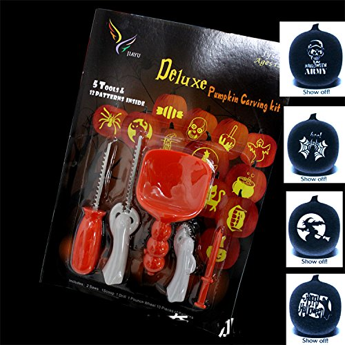 Lanyani Halloween Carving Tools Pumpkin Carving Kit 5 Tools with 10 Stencils