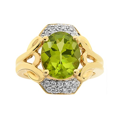 Avital & Co. 2.95 Carat Peridot with 1/4 Carat Diamond Cocktail Ring 14K Yellow Gold