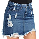 Abetteric Womens Destroyed Butt Lifting Rugged Wear Denim Beach Skirt Dark Blue XL