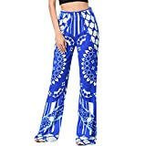 Pants,Han Shi Women Fashion Sexy Print High Waist Slim Leggings Wide Leg Long Trousers (XL, Blue)
