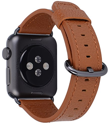 (PEAK ZHANG Compatible Iwatch Band 38mm 40mm Women Genuine Leather Replacement Strap with Space Grey Adapter and Buckle Compatible Series 4 (40mm) Series 3/2 /1 (38mm) Sport Edition, Light Brown)