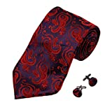 Purple Patterned Woven Silk Neckie Cufflinks Gift Box Set FireBrick valentines day A1189 One Size Firebrick