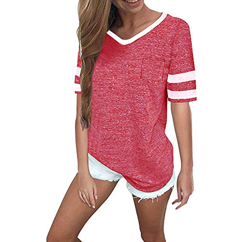OMSJ Womens Summer Tops Casual Short Sleeve T-Shirts (S, Watermelon red) - Shirt Top Girls Striped