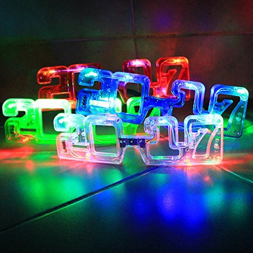 (2019 New Years Eve Party Supplies, 2019 LED Flashing Light up New Year's Eve Novelty Glasses Assorted Party Favors (1 Dozen) by)