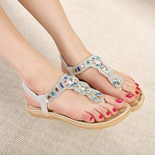 Sandalias del ms del rhinestone de las sandalias de las sandalias de las mujeres Silver