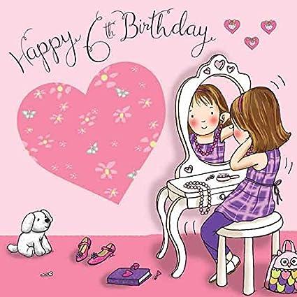 Twizler 6th Tarjeta de cumpleaños para niña con tocador y ...