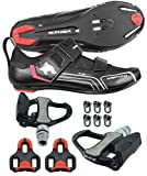 Venzo Bicycle Bike Cycling Triathlon Shoes for Shimano SPD SL Look with Pedals 47