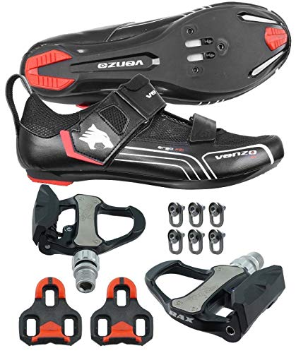 Venzo Bicycle Bike Cycling Triathlon Shoes for Shimano SPD SL Look with Pedals 44.5