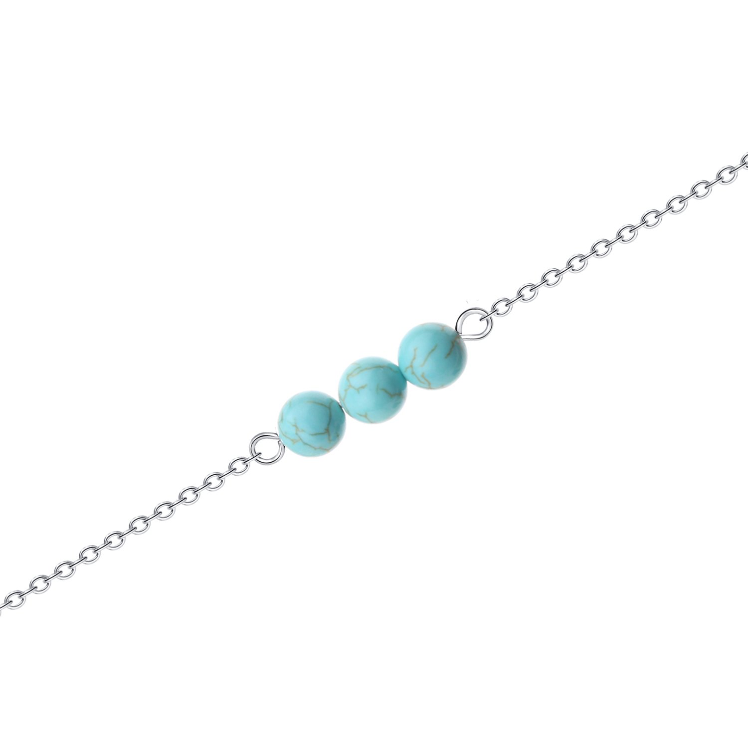 Tiny Real Turquoise Bead Necklace – Minimalist Small Healing Natural Thin Vintage Silver Simple Cute Genuine Pure Round Kids Ladies Turquoise Dainty Stone Bead Collar Necklace Jewelry Small for Kids