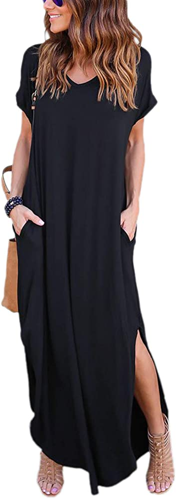 Vestido Mujer Largo Verano Bohemio Casual de Algodón Manga Corta ...