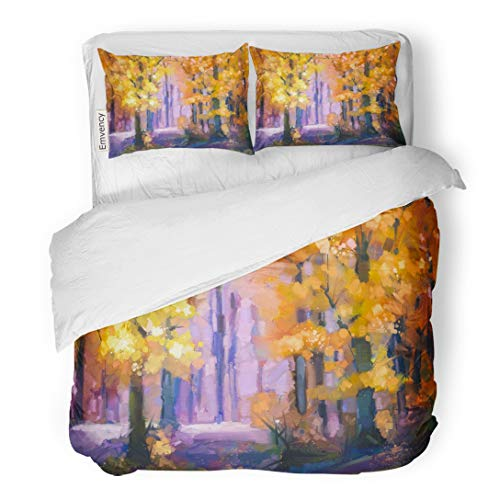 Tarolo Bedding Duvet Cover Set Oil Painting Landscape Colorful Autumn Trees Semi Abstract of Forest Yellow Red Leaf Fall Season Nature Hand 3 Piece Twin 68