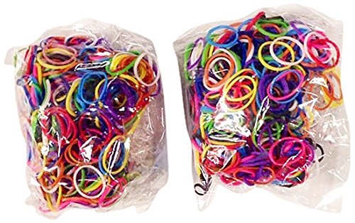 BlueDot Trading 1200-Piece Do-It-Yourself Bracelet Kit Refill Pack Rubber Band and S-Clips for Loom Art/Kids Craft with Rainbow, Multicolor by Bluedot Trading