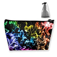 FJSLIE Rainbow Colorful Smoke Cigarette Women Makeup Bags Multi Function Toiletry Organizer Bags,Hand Portable Pouch Travel Wash Storage Capacity with Zipper(Trapezoidal)