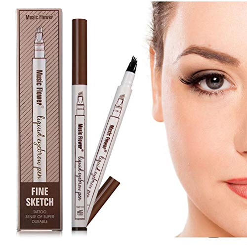 Eyebrow Pen - WantGor Waterproof Microblading Tattoo Eyebrow Pencil Long Lasting Tint Dye Cream with a Micro-Fork Tip,Smudge-Proof,Natural Looking (Brown)