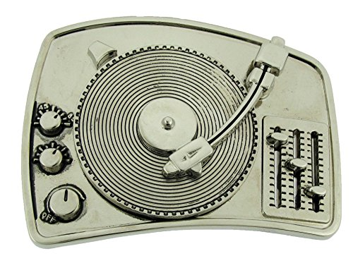 Music Belt Buckle Turntable Silver Gold Rhinestone Fashion Costume Men Unisex (Turntable Single Silver Size: 4.00 x 3.00 inches)