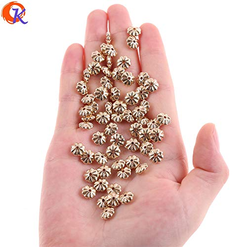 Calvas Cordial Design 8MM 1000Pcs/Lot Earring Findings/Acrylic Beads/Flower Shape/Gold UV Plating/Hand Made/Beads Jewelry Accessories