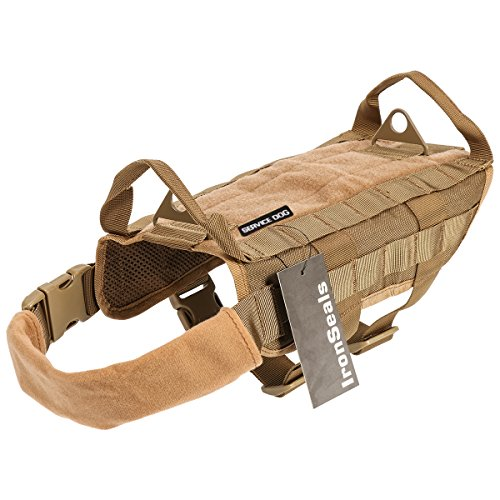 (IronSeals Tactical Service Dog Vest Training Molle Harness Military Tactical Dog Training Vest Harness with Mesh Padding and Two Handles (Small, Khaki))