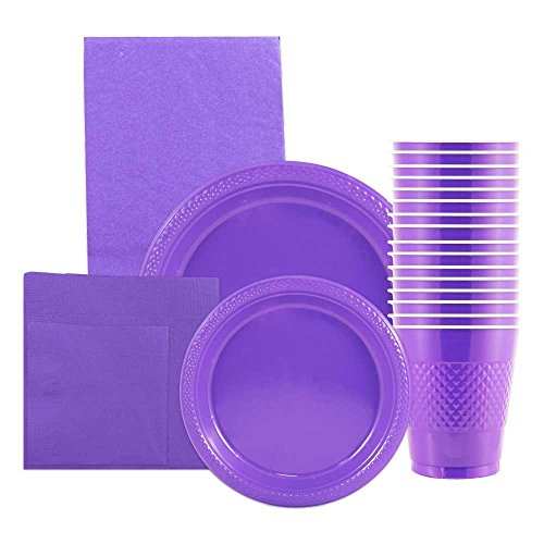 JAM Paper Party Supply Assortment Pack - Purple - Plates (2 Sizes), Napkins (2 Sizes), Cups (1 pack) & Tablecloth (1 pack) - 6/pack