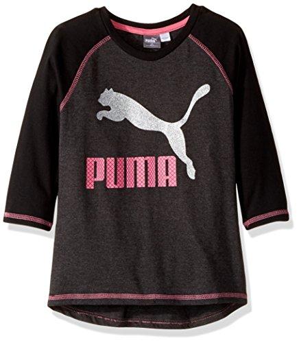 PUMA Toddler Girls' 3/4 Sleeve Back Scoop Top, Dark Heather Grey, 4T