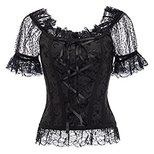 Womens Lolita Gothic Victorian Blouse Corset Back and Front Lace Up Short Sleeve