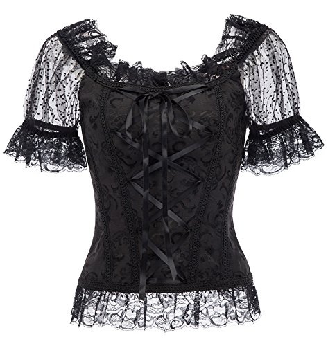 Belle Poque Women's Victorian Gothic Jacquard Short Sleeve Lace Blouse Black M