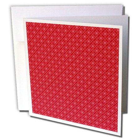 ugh - Patterns - Red Four Petal Flowers in Triangles Pattern - 1 Greeting Card with Envelope (gc_222386_5) ()